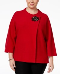 Jm Collection Plus Size Wool Topper Sweater Only At Macy's New Red Amore