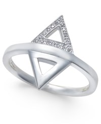Thomas Sabo Diamond Accent Double Triangle Statement Ring In Sterling Silver