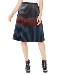 Bcbgmaxazria Elsa Pleated Faux Leather Skirt Black Combo