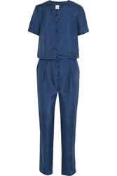 Iris And Ink Justine Washed Silk Jumpsuit Blue