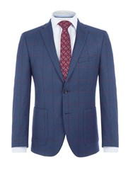 Paul Costelloe Men's Higgins Checked Wool Jacket Blue