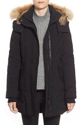 Women's Rudsak 'Coralie' Hooded Down Coat With Genuine Coyote And Genuine Rabbit Fur Trim Black
