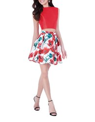 Glamour By Terani Couture Two Piece Floral Print Top And Skirt Set Red Multi