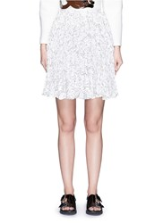 Chictopia Floral Guipure Lace Pleat Skirt White