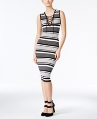 Xoxo Juniors' Striped Lace Up Bodycon Dress Black Ivory