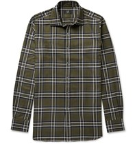 Dunhill Slim Fit Checked Cotton Twill Shirt Green