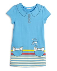 Little Marc Jacobs Short Sleeve Collar And Pocket Trompe L'oeil Dress Blue