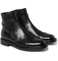 Brioni Buckle Detailed Leather Boots Black
