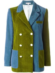 Olympia Le Tan Colour Block Corduroy Blazer Blue