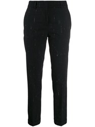 Piazza Sempione Striped Tailored Trousers Black