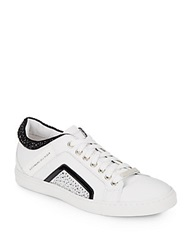 Alessandro Dell'acqua Studded Leather Lace Up Sneakers Black White