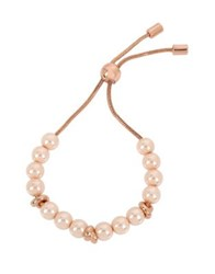 Kenneth Cole Knots And Pearls Faux Pearl And Crystal Knot Bracelet Rose Gold