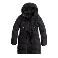 J.Crew Long Belted Down Puffer Coat Black