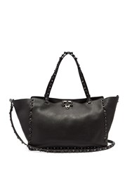 Valentino Rolling Rockstud Medium Leather Tote Black