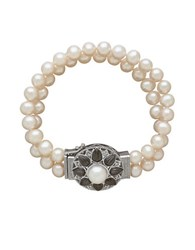 Lord And Taylor Double Strand Diamond Pearl Floral Bracelet Silver