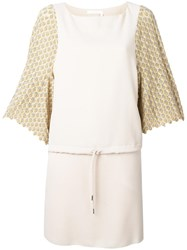 See By Chloe Crochet Sleeve Dress Nude Neutrals