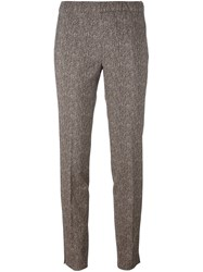 Incotex Herringbone Straight Leg Trousers Nude And Neutrals