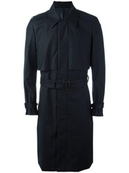Juun.J Pocketed Belted Trench Coat Blue