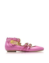 Moschino Pink Leather Flat Ballerinas W Golden Buckles And Signature Logo