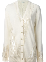 Kenzo Sequined Cable Knit Cardigan White