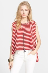 Free People 'Madness' Stripe Muscle Tank Red