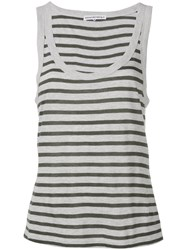 Alexander Wang T By Striped Tank Top Grey