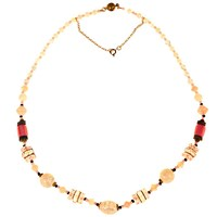 Alice Joseph Vintage 1920S Gold Toned Glass Opaline Bead Necklace Blush Black