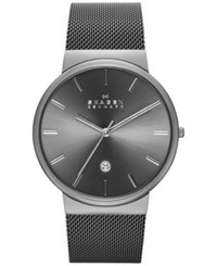 Skagen Men's Ancher Gray Ion Plated Stainless Steel Mesh Bracelet Watch 40Mm Skw6108