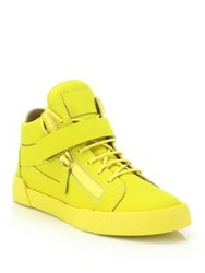 Giuseppe Zanotti Matte Leather Bar Double Zip Mid Top Sneakers Red Yellow