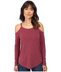 Splendid Long Sleeve Cold Shoulder Top Cranberry Women's Clothing Red