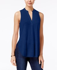 Almost Famous Juniors' Cutout Back Lace Trim Top Indigo