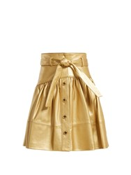 Miu Miu High Rise Leather Mini Skirt Gold
