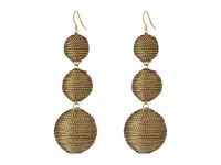 Kenneth Jay Lane 3 Gold Thread Small To Large Wrapped Ball Post Fish Hook Ear Earrings Gold Earring