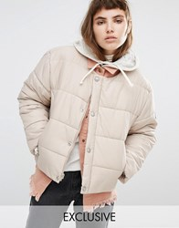 Puffa Oversized Collarless Padded Jacket Beige