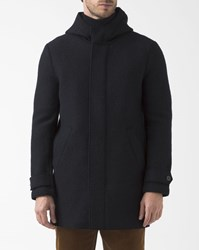 Harris Wharf London Navy Blue Boiled Wool Parka