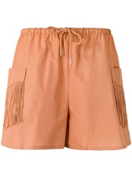See By Chloe Fringe Pocket Shorts Women Cotton Polyester 38 Yellow Orange
