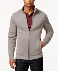 Club Room Men's Quilted Zipper Jacket Only At Macy's Light Grey Heather