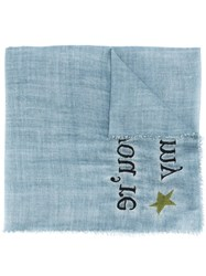 Faliero Sarti 'You're My' Scarf Women Silk Polyester Wool One Size Blue