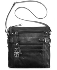 Giani Bernini Handbag Pebble Leather Multi Zip Pocket Crossbody Bag Black