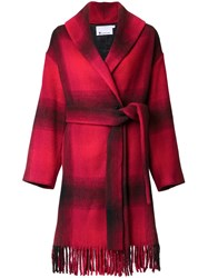 Alexander Wang T By Checked Coat Red