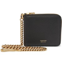 Tom Ford Full Grain Leather Zip Around Chain Wallet Black
