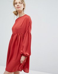 Lost Ink Extreme Swing Dress Rust Red