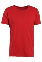 Knowledge Cotton Apparel Basic Fit Loose Oneck Basic Tshirt Deep Red Dark Red