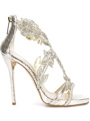 Oscar De La Renta Floral Embroidery Sandals Nude And Neutrals