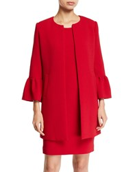 Albert Nipon Two Piece Trumpet Sleeve Coat And Mini Dress Set Red