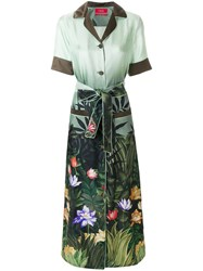 F.R.S For Restless Sleepers Long Floral Duster Coat Green