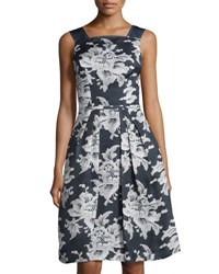 Carolina Herrera Lace Print Gazer Party Dress Open Blue