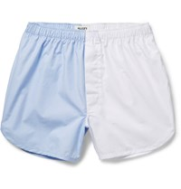 Sleepy Jones Walt Two Tone Cotton Poplin Boxer Shorts Blue