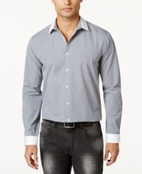 Inc International Concepts Men's Contrast Trim Grid Shirt Only At Macy's Grey