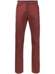 Gieves And Hawkes Slim Fit Trousers Men Cotton Spandex Elastane 32 Red